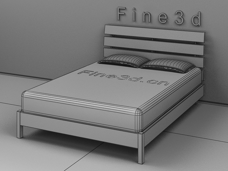 Simple looking double bed 3d model max obj 3ds for 3ds max bed model