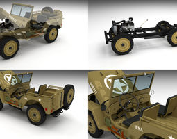 Full w chassis Jeep Willys MB Military Desert 3D Model