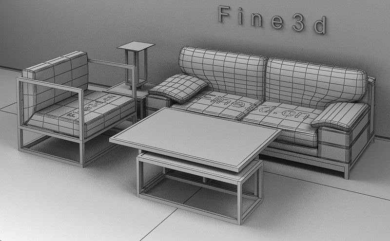Living room furniture 3d model max obj 3ds for New model living room furniture