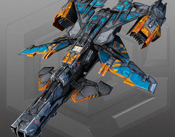 3D model SciFi Gunship X3