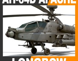 AH-64D Apache Longbow Attack Helicopter 3D Model