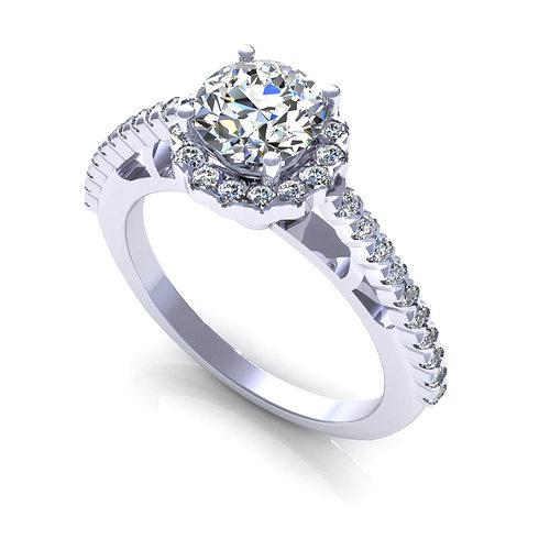 Side Stone Engagement Ring 3D Model 3D printable STL