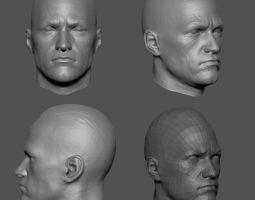 male head base mesh 3d model obj ztl