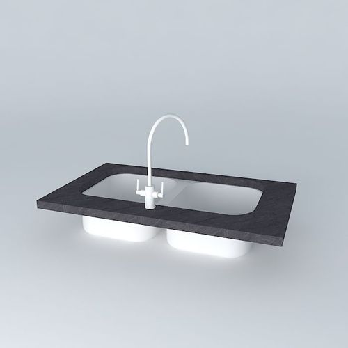 Kitchen Sink Model: Double Inset Kitchen Sink With Mixer Tap 3D Model .max