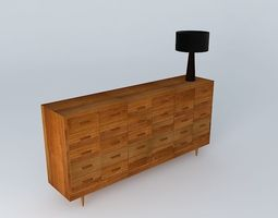 Multi drawer wooden chest 3D