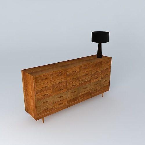 multi drawer wooden chest 3d model max obj mtl 3ds fbx stl dae 1