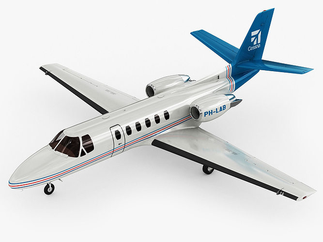 cessna 550 citation ii 3d model max obj 3ds fbx c4d lwo lw lws 1
