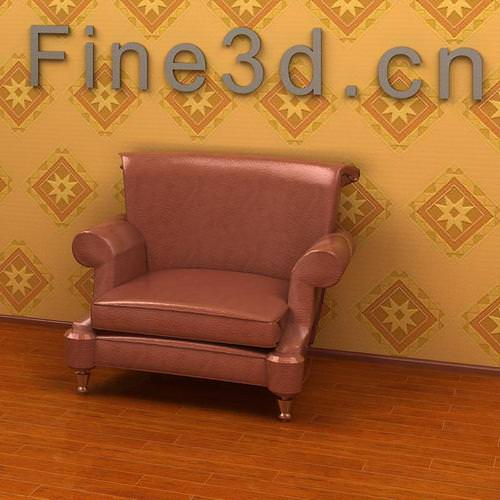 Brown glossy leather armchair3D model