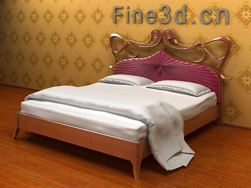 double bed with purple decoration 3d model max obj 3ds rfa 1. Double Bed with Purple Decoration 3D Model MAX OBJ 3DS RFA