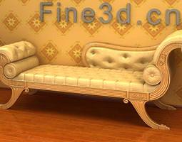 3D model Bright Leather Couch