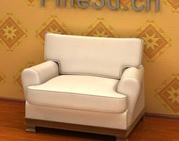 3d model white armchair
