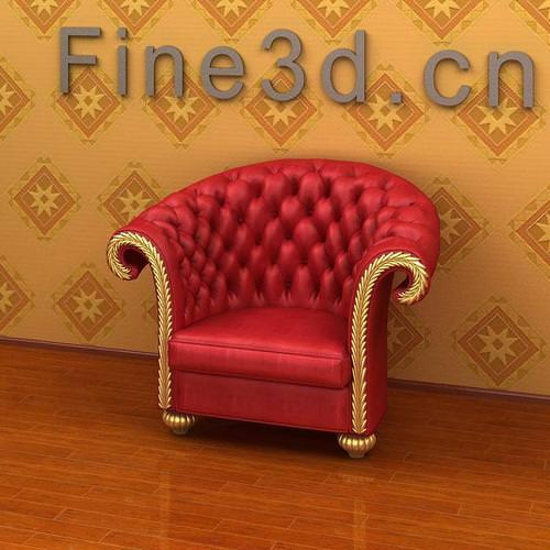 Fancy Red Armchair3D model