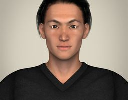 realisitc young japanese male 3d model max obj 3ds fbx c4d lwo lw lws