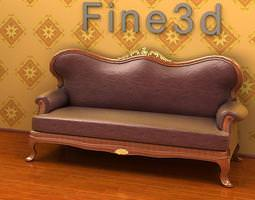 Brown sofa with details 3D model