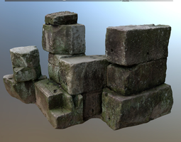 3d asset game-ready scanned stone pile for rendering and games