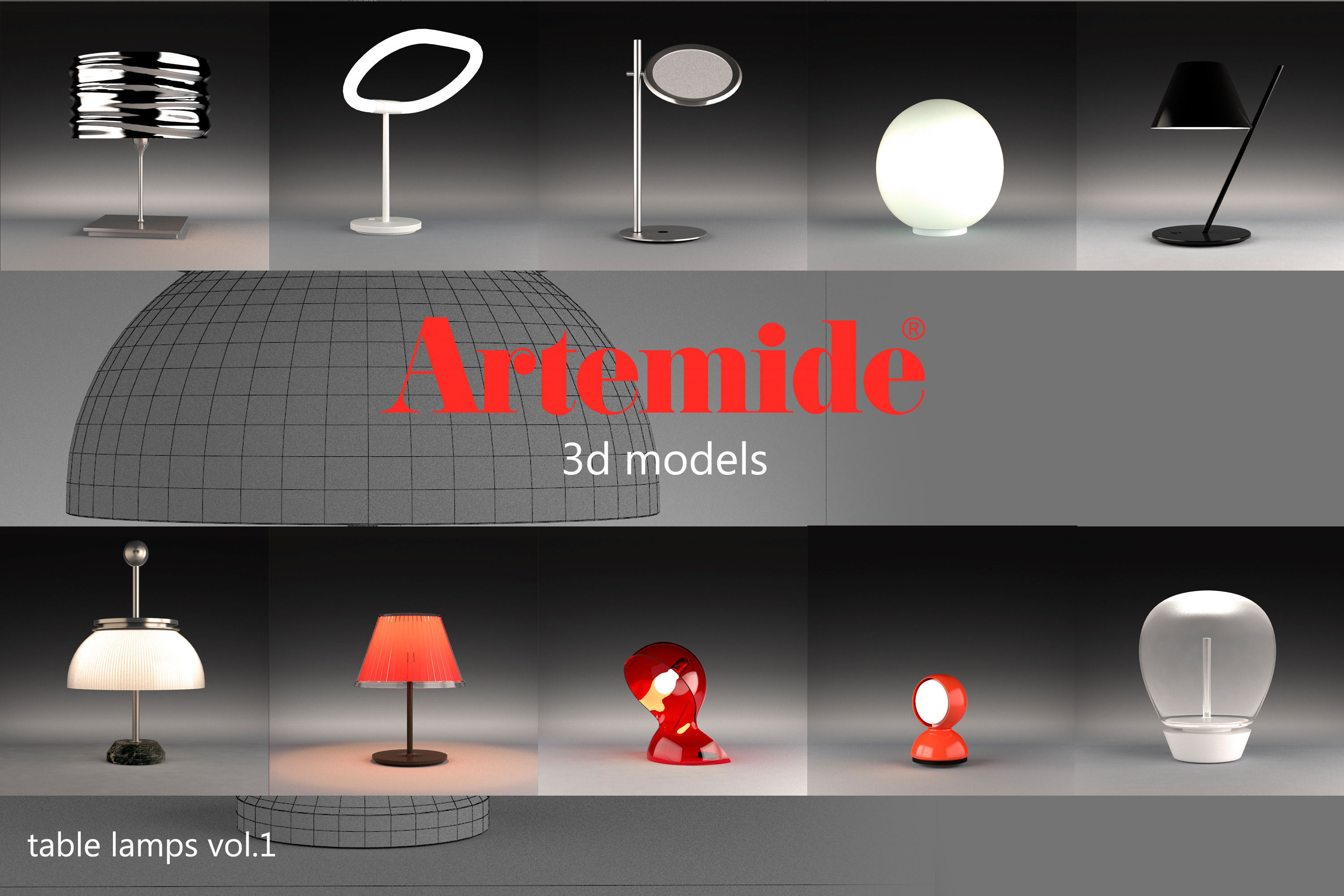 Artemide table lamps collection vol 1 3d cgtrader artemide table lamps collection vol 1 3d model max obj 1 aloadofball Choice Image
