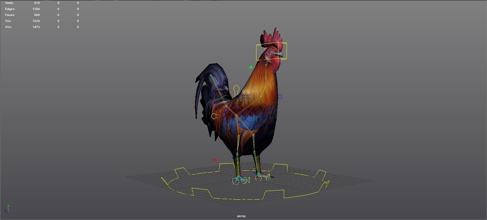 3d model rooster rigged animated and textured vr ar