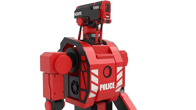 police robot 3d model obj mtl fbx blend dae x3d 1