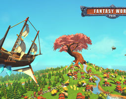 animated VR / AR ready 3d model fantasy world pack low poly
