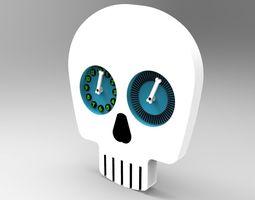 3d skull head clock