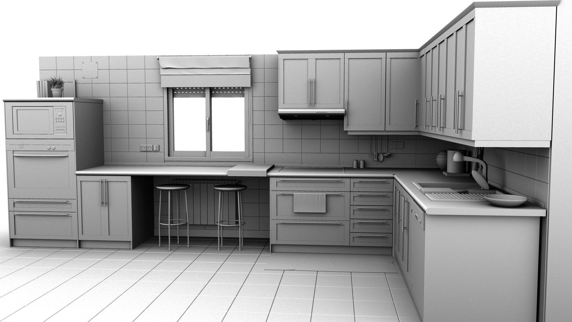 Kitchen hd res 3d model obj fbx ma mb mtl for Model kitchen