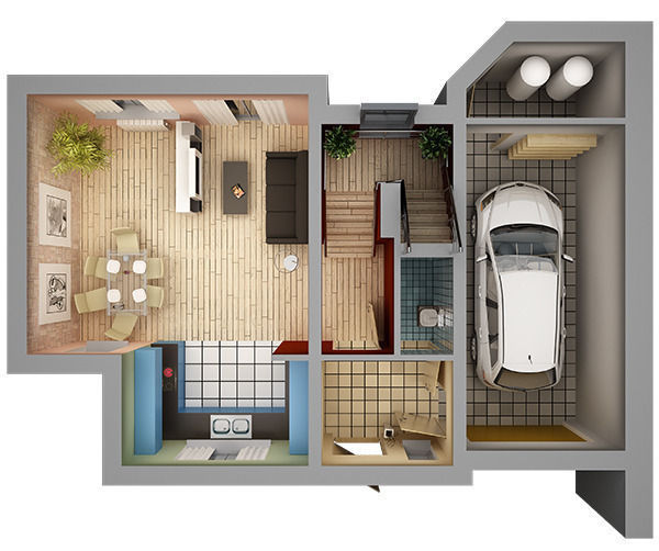 Home Interior Floor Plan 01 3d Model Max Obj Dwg Mtl