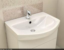 Bathroom sink 3D model mixer