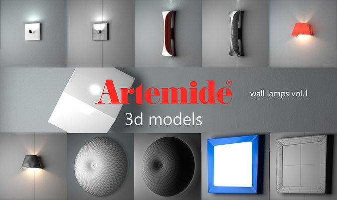 artemide wall lamps collection vol 1  3d model max obj mtl 1