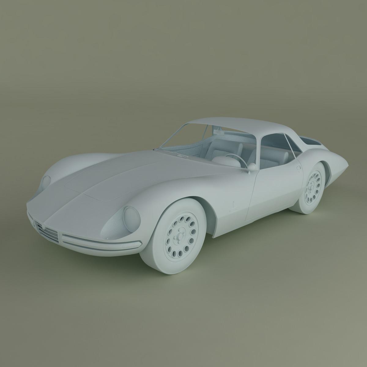 Alfa Romeo Giulia 1600 TZ2 Pininfarina 3D Model MAX OBJ
