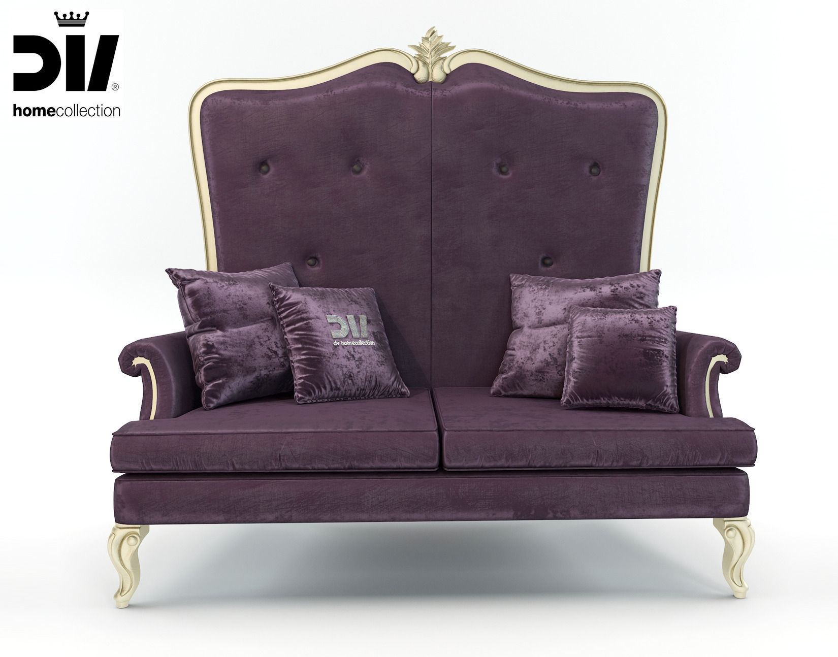 high back classic elegant sofa by dv home collection 3d. Black Bedroom Furniture Sets. Home Design Ideas