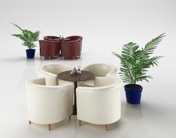 3D model Leather Armchair Set