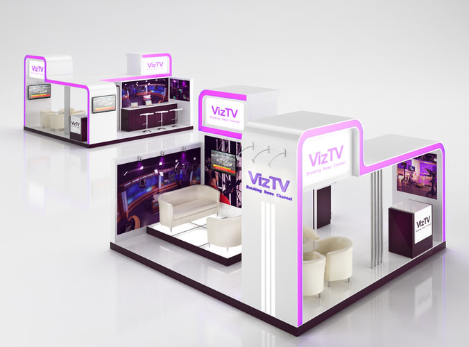 Tv info stand 3d model max obj 3ds c4d for Jewelry stand 3d model