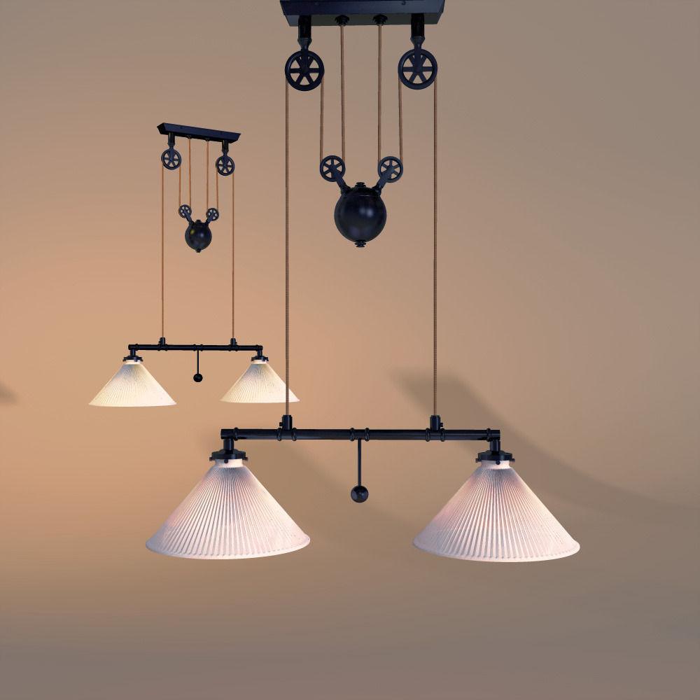 restoration hardware industrial pully pendant 3d model. Black Bedroom Furniture Sets. Home Design Ideas