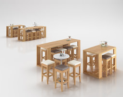 3D Wooden Scandinavian Tables and Stools
