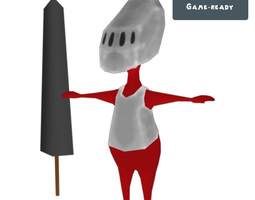 3d model red knight toon realtime animated