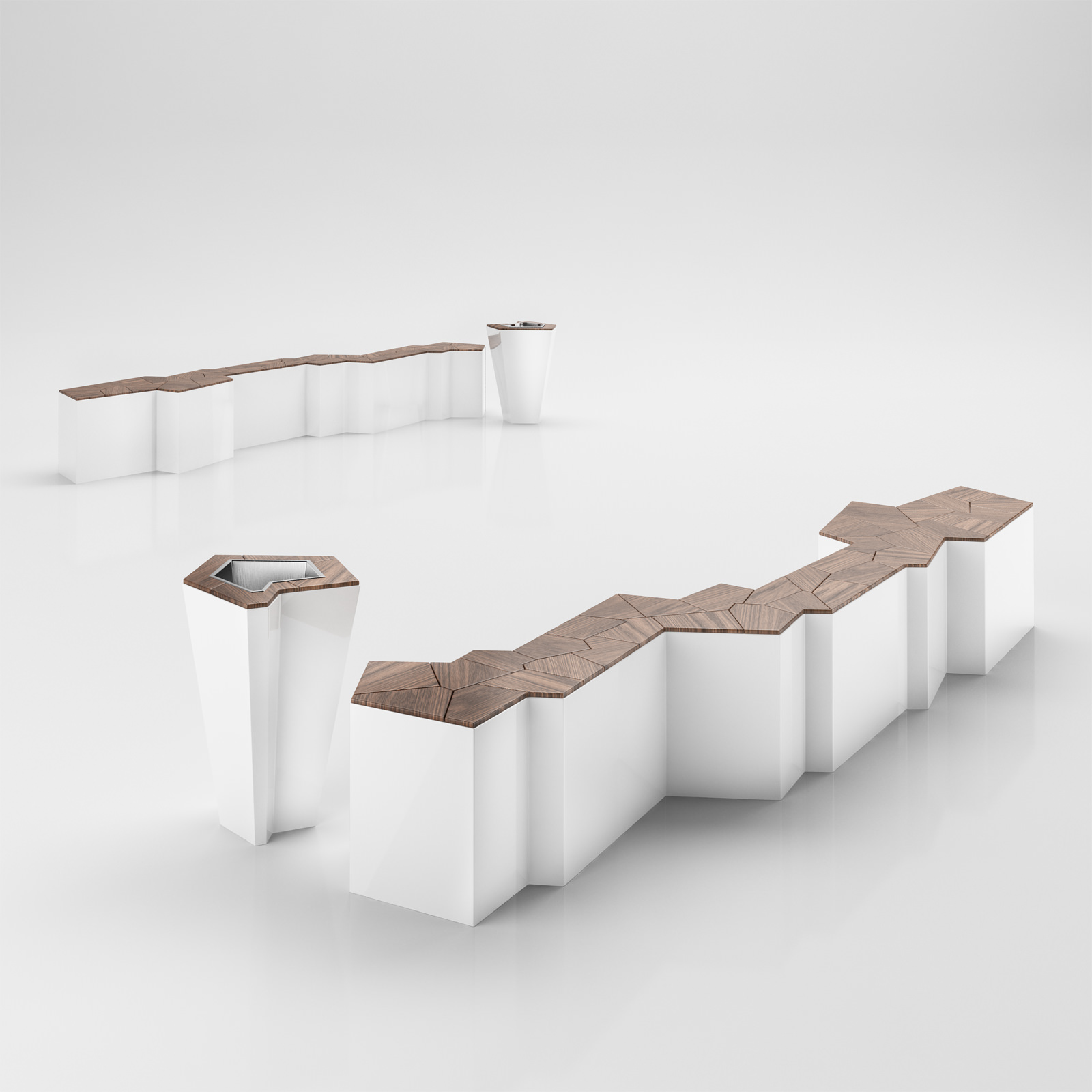 Modern Art Style Bench With Matched Trash Bin 3d Model Max Obj 3ds C4d