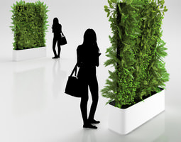 Green Wall in Pot 3D Model