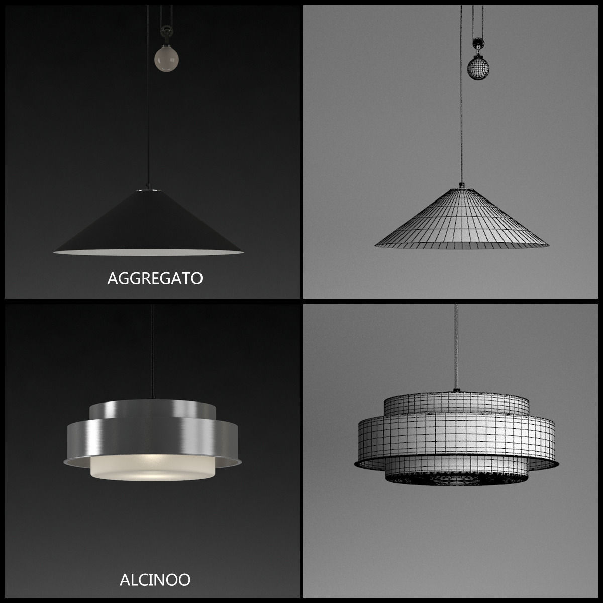 Artemide suspension lamps collection vol 1 3d model max for Suspension 2 lampes