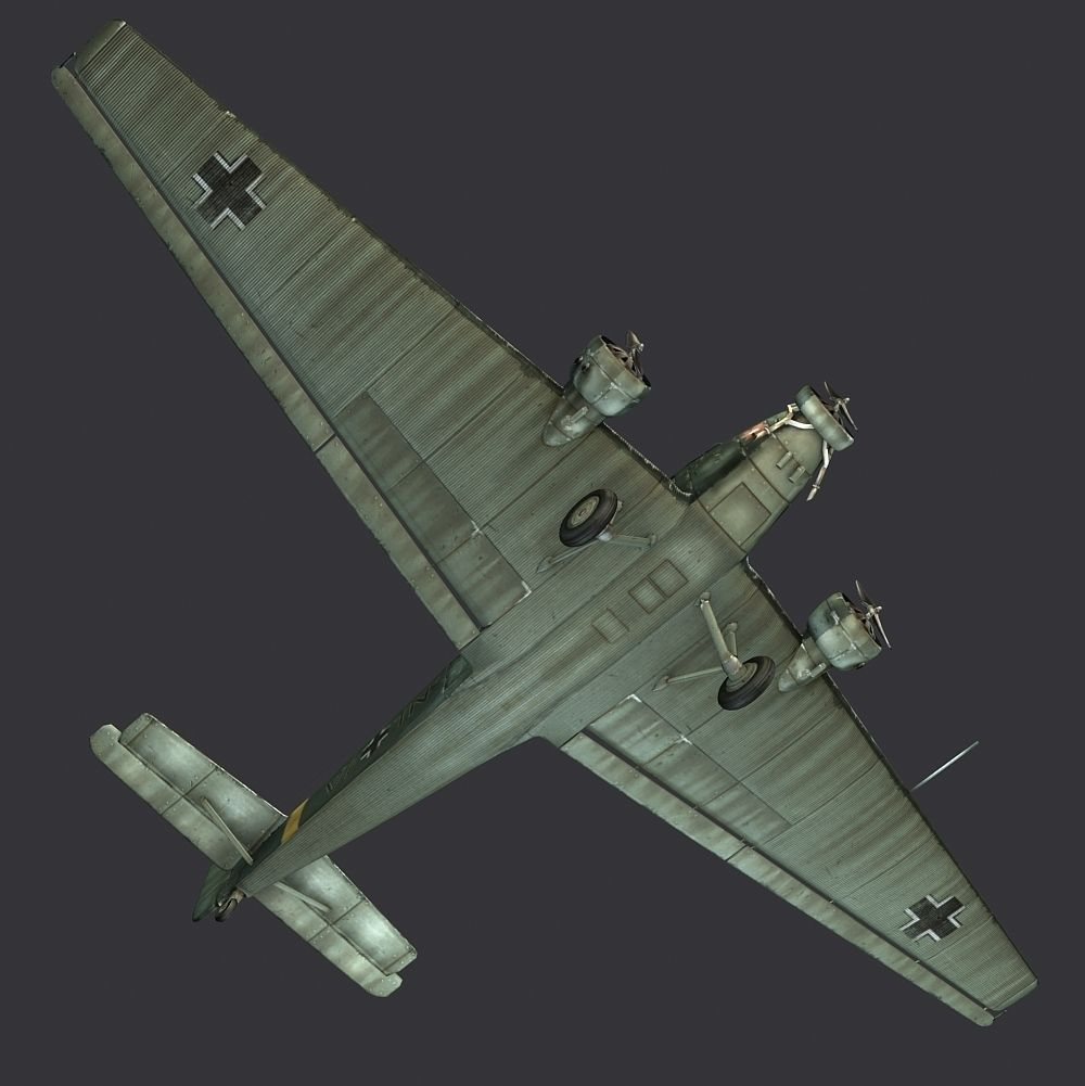 Aircraft JU 52 3D Model Game Ready .max .obj .fbx