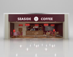 Coffee Shop with Interior 3D Model