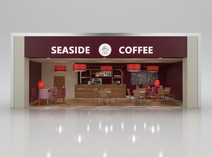 Coffee Shop with Interior3D model