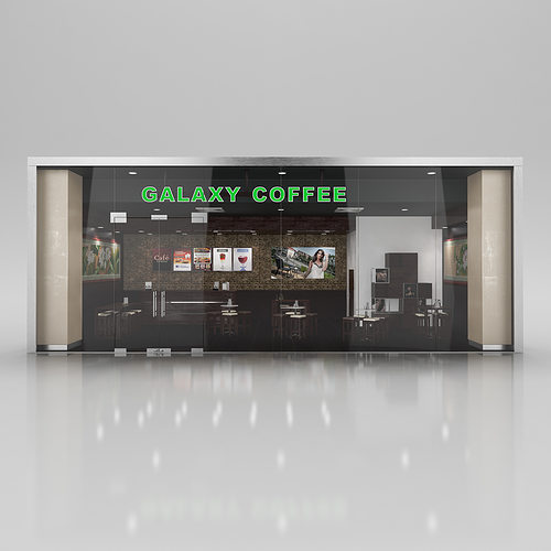 coffee shop with interior 3d cgtrader. Black Bedroom Furniture Sets. Home Design Ideas