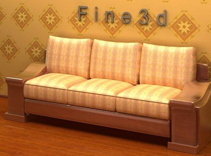 Wide Wo0den Sided Sofa 3d Model Max Obj 3ds