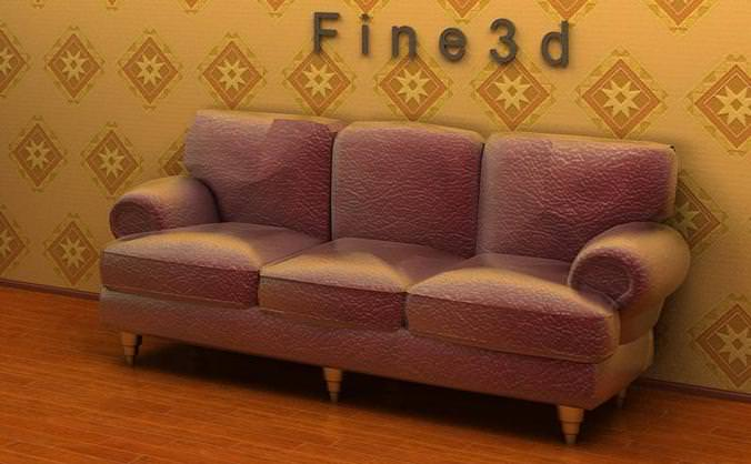 Three-seat rough material sofa3D model