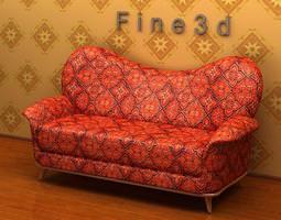 3D Red Printed Sofa