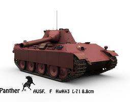 panther ausf f  kwk43 l71 88mm 3d model max obj fbx