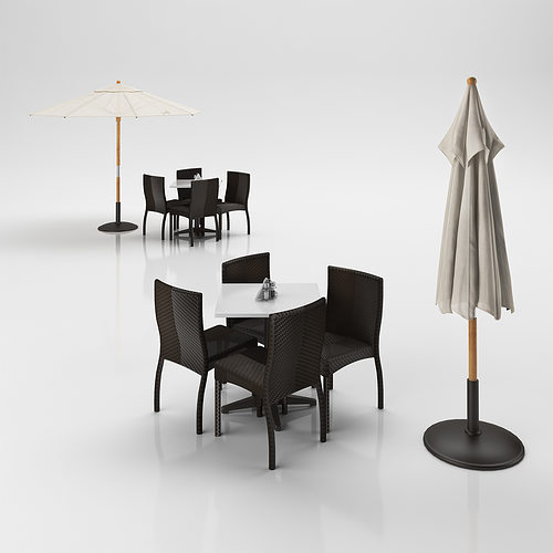 rattan chairs set with table and outdoor umbrella 3d model max obj 3ds c4d 1