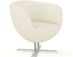 3D model White Leather Swivel Chair
