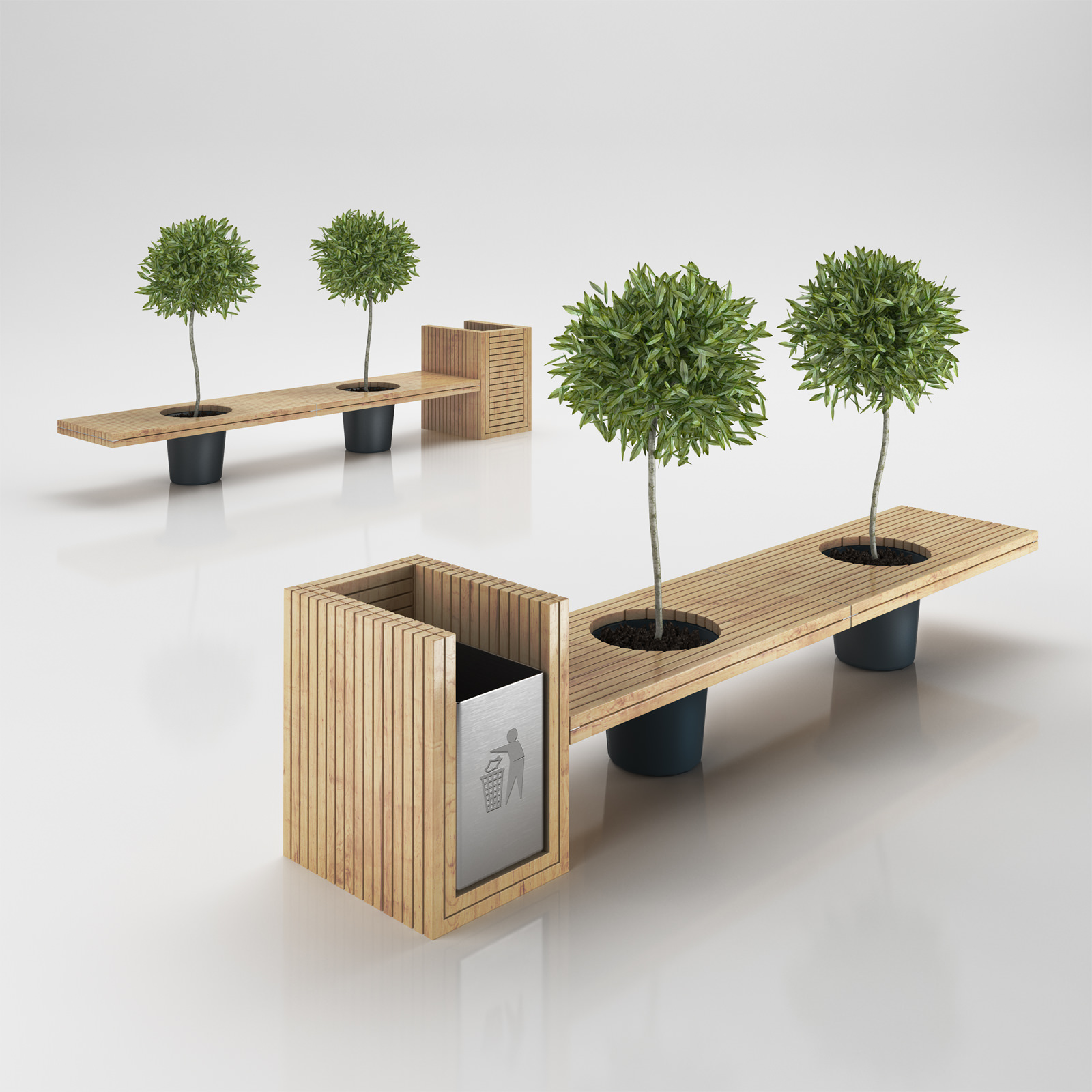 Wooden Eco Design Bench with Integrated Tr... 3D Model MAX OBJ 3DS C4D ...