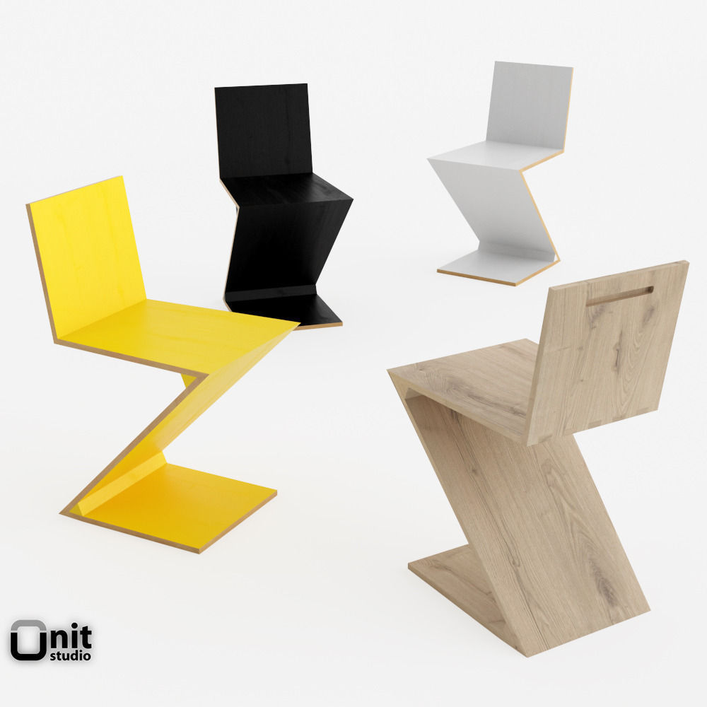 Merveilleux Zig Zag Chair By Cassina 3d Model Max Obj 3ds Fbx Dwg Unitypackage 1 ...